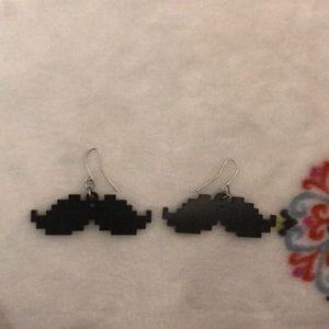 Pixelated Mustache Earrings